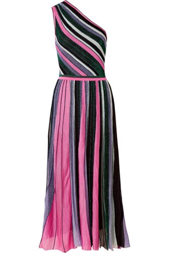 Missoni One Shoulder Pleated Metallic Stretch Knit Midi Dress Pink Gbp AeOyNS2
