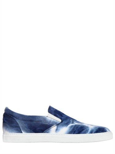 DSquared Tie Dyed Cotton Canvas Slip On Sneakers Pdh7F