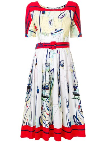 Samantha Sung Sailboat Print Belted Dress White n4U2Zx