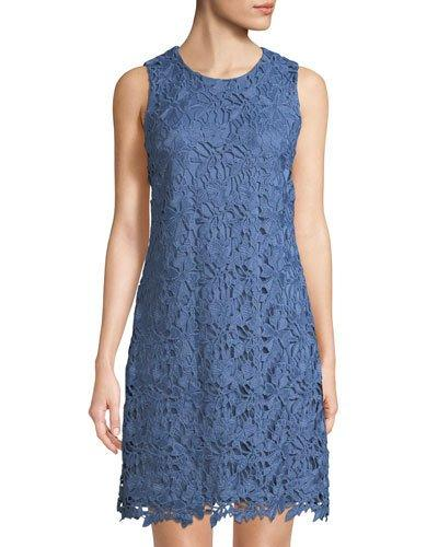 Karl Lagerfeld Sleeveless Lace Sheath Dress Light Blue iBVZpxgnR