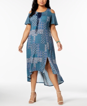 Ny Collection Plus And Petite Plus Size Cold Shoulder Dress Sea Cendrillon neeMT4cY0