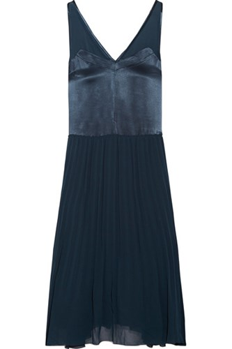 By Malene Birger Carrol Pleated Chiffon And Satin Midi Dress Storm Blue xd3azBcg6K