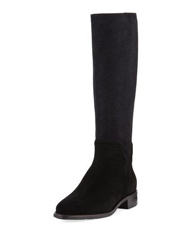 Aquatalia by Marvin K Nicolette Suede Stretch Tall Boot Black LG1N6D