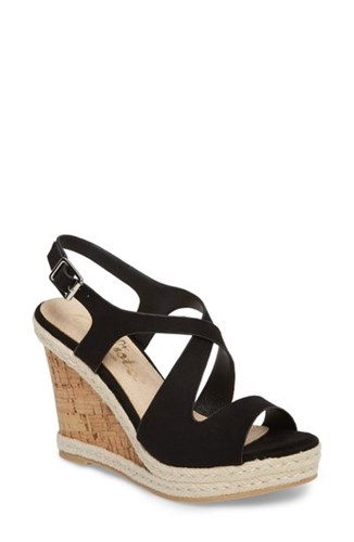 Callisto Women's Brielle Wedge Sandal Black Suede NPhmz5WKD