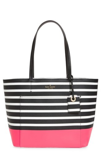 Kate Spade New York Hyde Lane Dipped Stripe Small Riley Tote Pink Peach Sherbet QCDOUCSuh