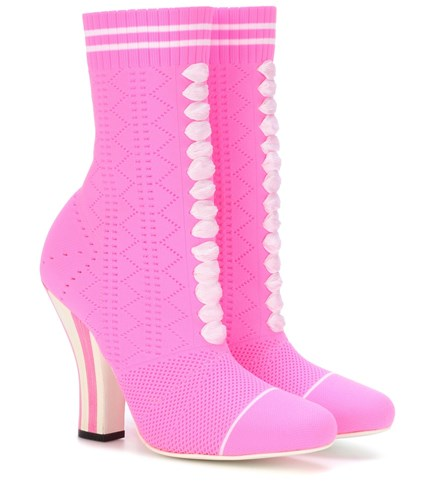 Fendi Stretch Knit Ankle Boots Pink VOeopzg