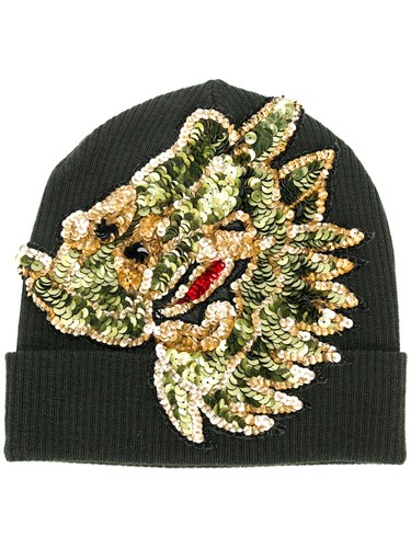 Sequin Embroidered Knitted Beanie Green