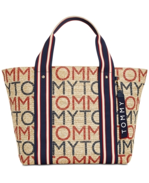 Tommy Hilfiger Camden Printed Logo Straw Extra Large Tote Natural 1glqcHaz9J