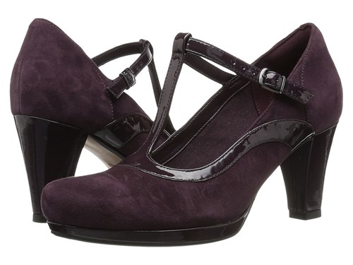Clarks Chorus Pitch Aubergine Leather Combo High Heels Brown oqfpfAC