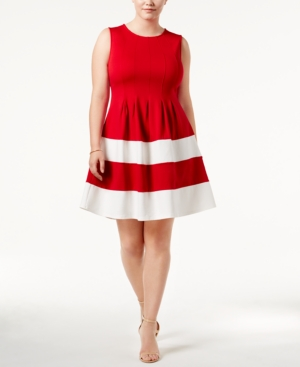Monteau Trendy Plus Size Fit And Flare Dress Red White SRg4dCbXk