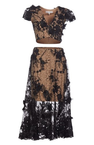 Dress the Population Juliana 3D Lace Two Piece Jc662kWI