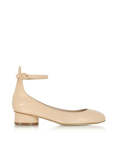 Stuart Weitzman Shoes Polly Blush Leather Mid Heel Pumps SlAdL