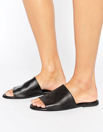 Asos Fahrenheit Leather Mules Black WUp833