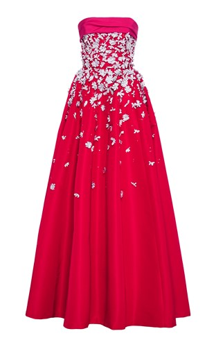 Carolina Herrera Floral Embroidered Faille Ball Gown wdc5Drxj3