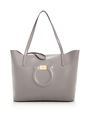 Salvatore Ferragamo Leather City Tote Pale Gray Gold aaYGue