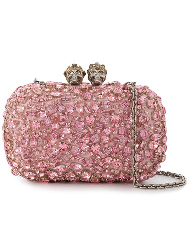 Alexander McQueen Queen And King Chain Wallet Leather Crystal Pink Purple T5TeFG