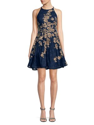 Xscape Evenings Floral A Line Dress Navy Gold XsYu4S