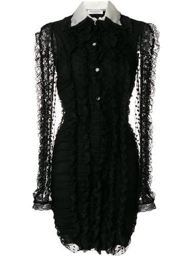 Philosophy di Lorenzo Serafini Lace Detail Long Sleeved Dress Polyamide Polyester Black qlvs9