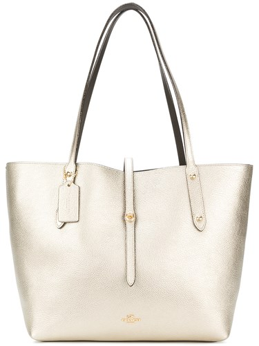 Coach Market Tote Calf Leather Metallic DtN6KRYW29
