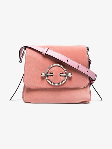 J.W.Anderson Jw Anderson Pink Disc Suede And Leather Cross Body Bag Pink And Purple mPq2ogDbmY