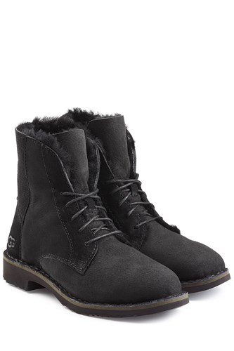 UGG Australia Suede Lace Up Boots With Searling Lining Black 2666l