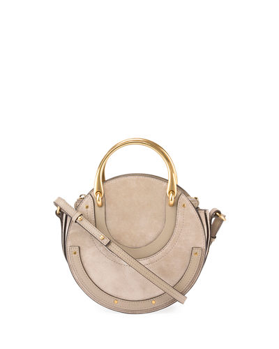 Handle Gray Tote Pixie Double Chloé Bag Small Round 1xqIww0T4