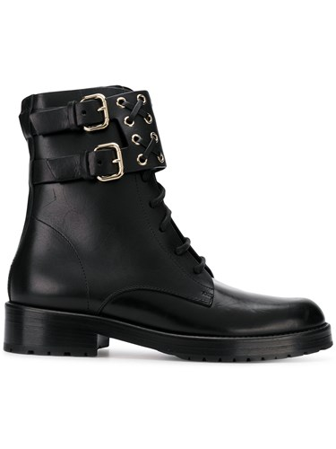 RED Valentino Buckled Ankle Boots Black ouLUO