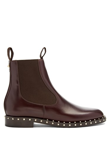 Valentino Soul Leather Chelsea Boots Burgundy TDS4i