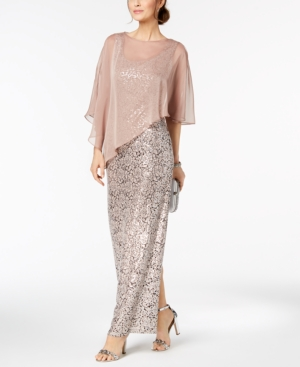 Gown Cape Blush Chiffon Sequined And Lace Si Fashions Sl wq7RznI0