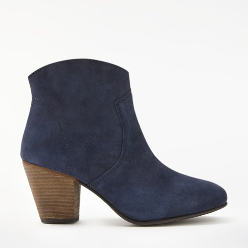 Boden Boho Block Heeled Ankle Boots Navy Suede 3H3VMn