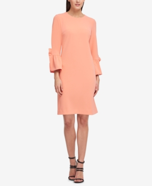 DKNY Ruffle Sleeve Scuba Shift Dress Created For Macy's Peach olJlCpaiEh