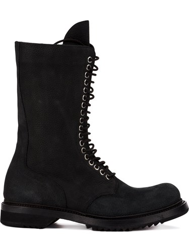 Rick Owens Lace Up Army Boots Calf Leather Rubber Black kH0zVQ