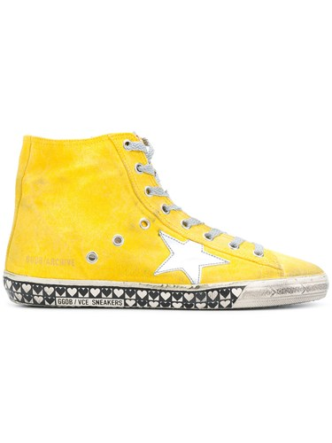 Golden Goose Deluxe Brand Francy Sneakers Cotton Leather Rubber Yellow Orange WsxnNo