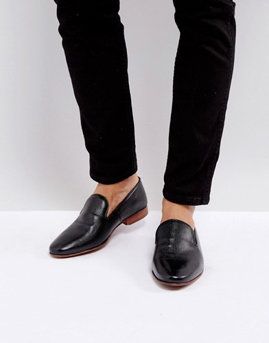 Asos Loafers In Black Leather With Emboss Detail Black 6OrPFo