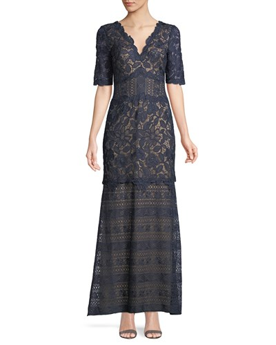 Tadashi Shoji Scalloped Floral Lace V Neck Dress Navy AS4d4z1um