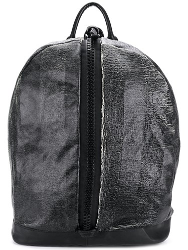 Giorgio Brato Front Zipped Distressed Backpack Leather Cotton Black HtnGg9UE