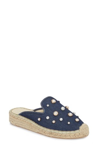 Patricia Green Embellished Espadrille Loafer Mule Navy Denim Fabric yLbq0