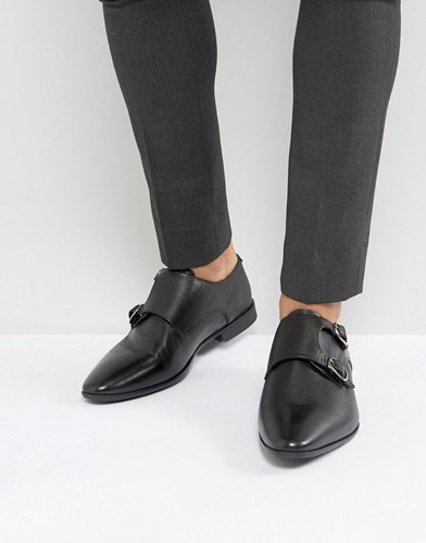 With Monk Leather Asos Detail In Emboss Shoes Black Black I6Xddzxnv