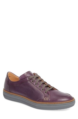 Mezlan Ceres Perforated Low Top Sneaker Purple Leather ZzeODorYf