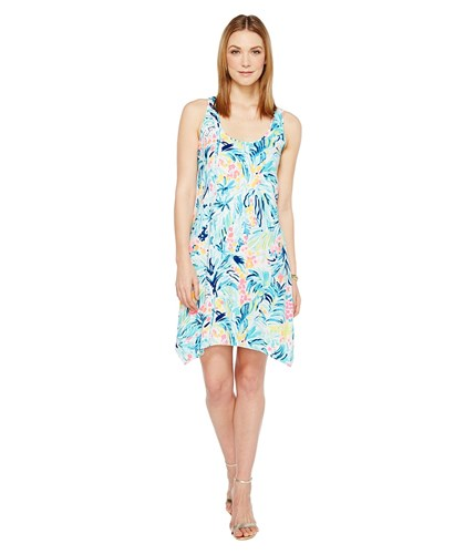Lilly Pulitzer Melle Dress Serene Blue Tippy Top Multi fuxWfvJld6