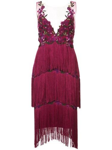 Marchesa Notte Embroidered Fringed Dress Pink And Purple AUdgiwGKsQ