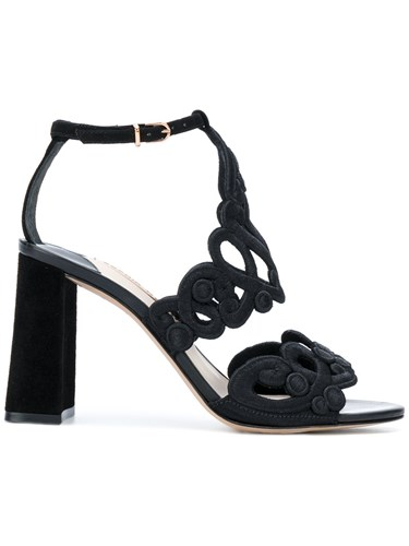 Sophia Webster Albany Sandals Cotton Leather Suede Black ohHWuiR3