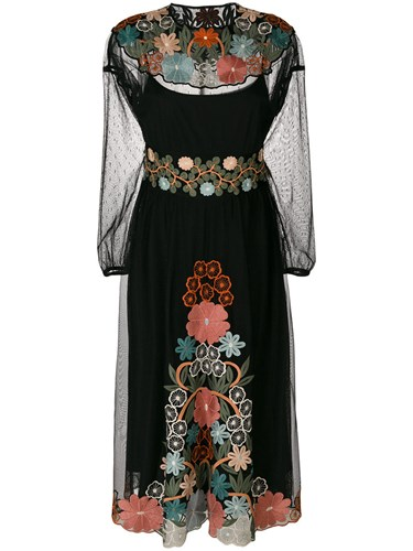 RED Valentino Embroidered Midi Dress Polyester Black aRk4l7r0Sa