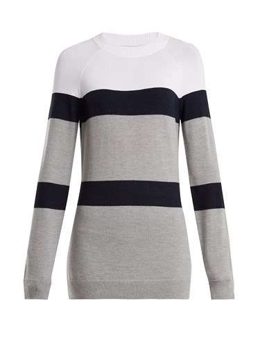 Apres Striped Knit Wool Blend Sweater White Multi