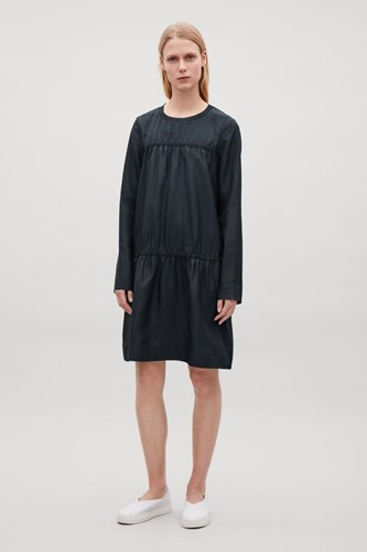 Dress COS Gathered Silk Navy Line A ppfwTqA4