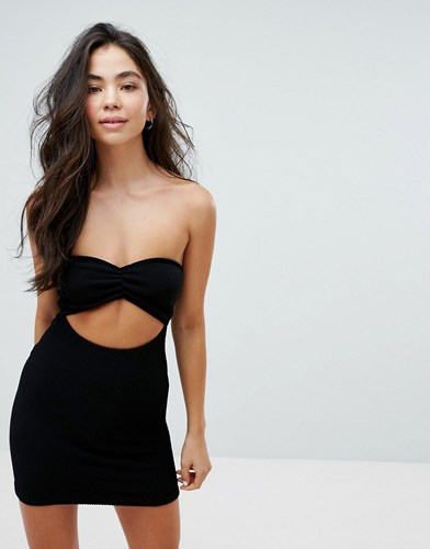 Asos Crinkle Bandeau Beach Dress With Cut Out Black 7tRLy
