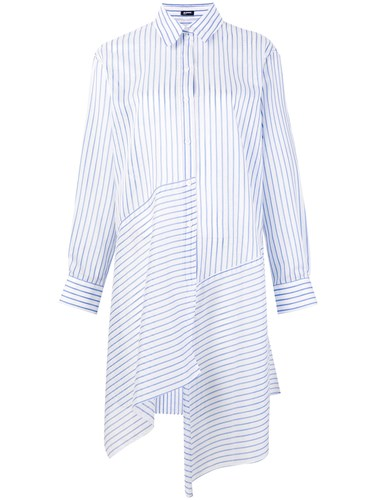 Jil Sander Navy Striped Asymmetric Shirt Dress White TnVUCE