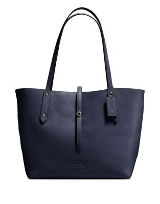 Coach Polished Pebbled Leather Market Tote Navy Blue 8RXtuI