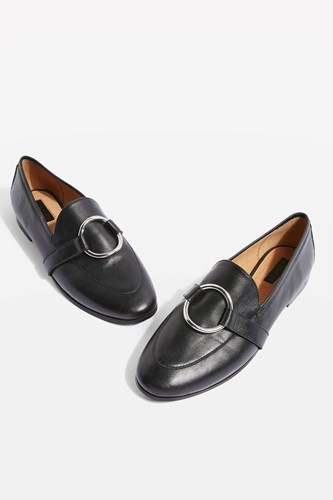 Topshop Wide Fit Kreme Ring Loafers Black 8OvgarJK