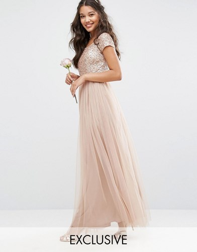 Maya Bardot Maxi Dress With Delicate Sequin And Tulle Skirt Mink Brown RKLMBi6sOJ